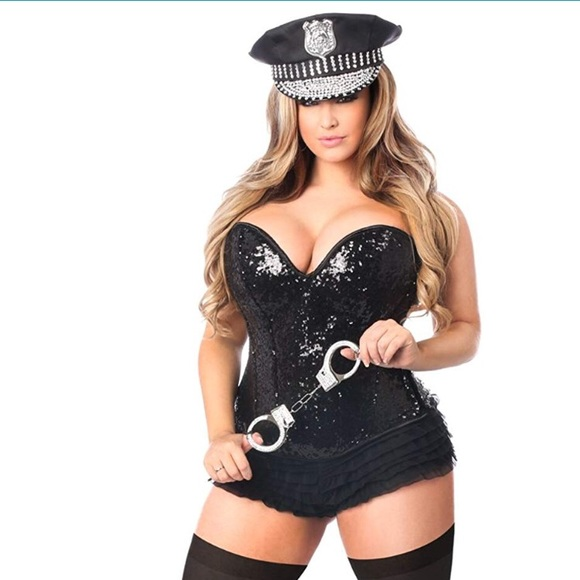 3bfd5c1d82307 Daisy Corsets Intimates & Sleepwear | 4pc Sexy Sequin Cop Corset ...
